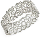 Carolee Silver-Tone Pavé Hinged Bangle Bracelet