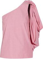 Rosie Assoulin Hustle & Bustle one-shoulder cotton-chambray top