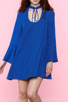 Amanda Uprichard Blue Flowy Long Sleeve Dress