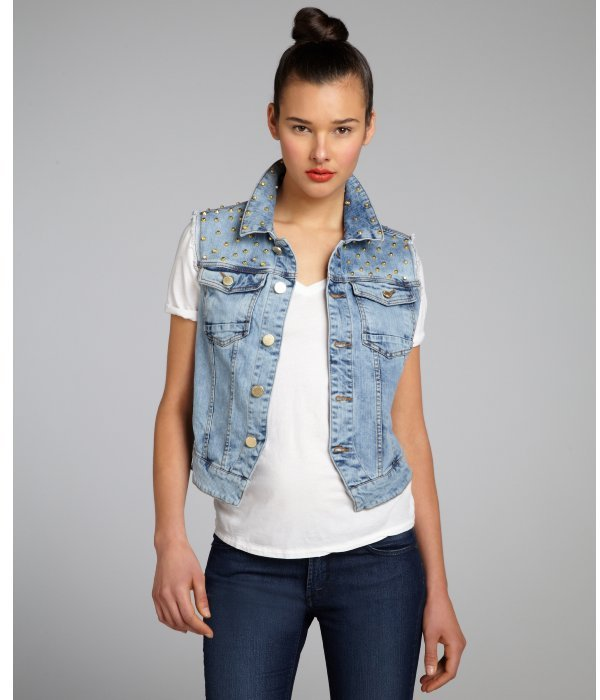 Wyatt light blue wash denim studded shoulder jean vest