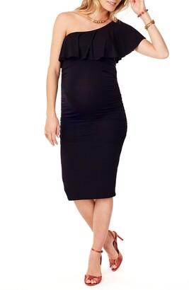 Ingrid & Isabel Ruffle One-Shoulder Maternity Dress