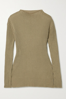 LAUREN MANOOGIAN Column Ribbed Organic Cotton And Mulberry Silk-blend Sweater - Army green