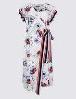 M&S Collection Floral Print Wrap Shift Midi Dress