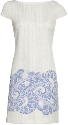 Vince Camuto Metallic Jacquard Cap Sleeve Shift Dress