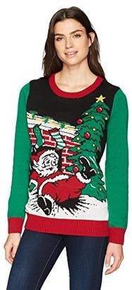 Ugly Christmas Sweater Women's Light-up Santa Falls