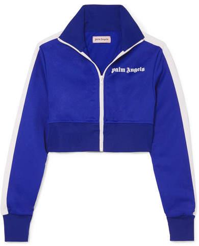 Palm Angels Cropped Striped Satin-jersey Track Jacket - Blue