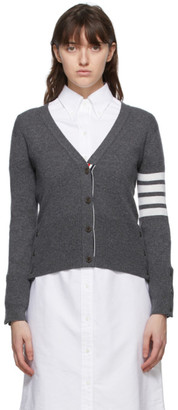 Thom Browne Online Exclusive Grey Cashmere Classic 4-Bar Cardigan