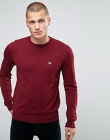 Armani Jeans Jumper With Crew Neck With Eagle Logo In Burgundy
