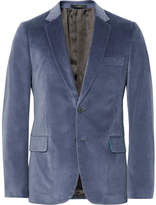 Paul Smith Blue Slim-fit Stretch Cotton-velvet Blazer - Blue