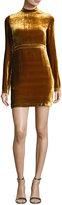 A.L.C. Gemma Long-Sleeve Velvet Mini Dress, Gold
