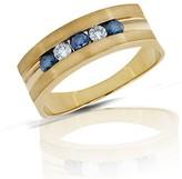 Effy Jewelry Mens 14K Yellow Gold Blue & White Diamond Ring, .49 TCW