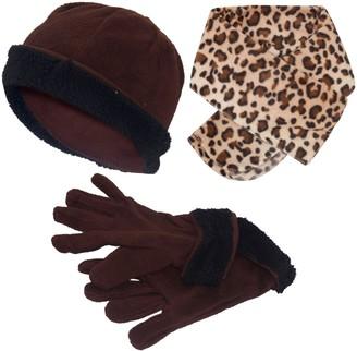 Generic Ladies 3-Pc Hat Scarf Gloves Set Leopard