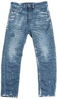 Diesel Wrinkled & Painted Stretch Denim Jeans