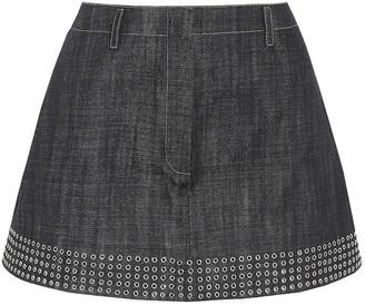 Alaia Eyelet-embellished Denim Mini Skirt