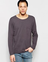 Weekday Rawley Long Sleeve Pique Top Raw Edge in Dark Gray