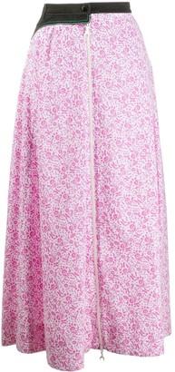 Marine Serre Floral-Print Midi Skirt