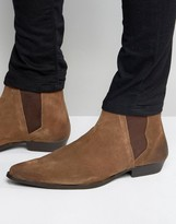 Asos Pointed Chelsea Boots in Brown Suede