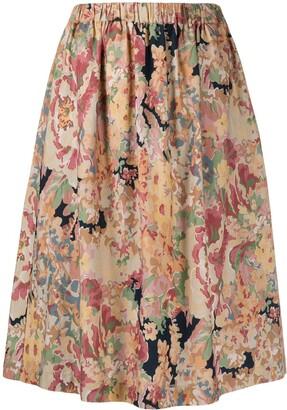 YMC floral-print A-line skirt