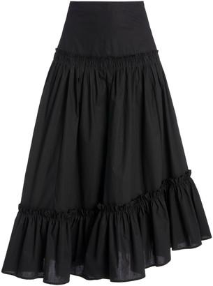 Cara Tisbury Printed Cotton-Poplin Midi Skirt