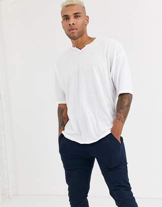 Asos Design DESIGN oversized longline t-shirt with notch neck in linen mix in white
