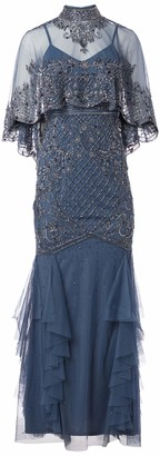 Aidan Mattox Aidan Women's Capelet Beaded Gown