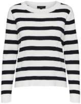 Selected Black & White Stripe Knitted Pullover Jumper - MEDIUM - White/Black