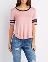 Charlotte Russe Scoop Neck Football Tee