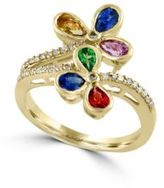 Effy Watercolors 14K Yellow Gold Multi-Stone and Diamond Ring, 0.15 TCW