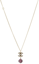 Chanel Gold Hammered CC Marble Pendant Necklace