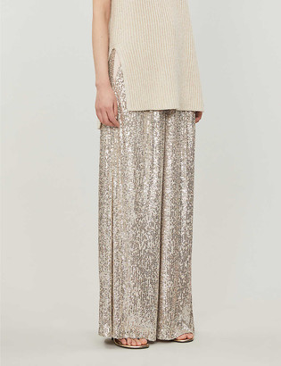 Topshop High-rise sequinned wide-leg trousers
