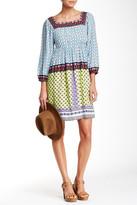 ECI 3/4 Length Sleeve Twin Print Boho Dress
