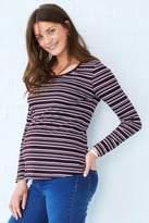 Next Womens Stripe Maternity Long Sleeve Basic Tee - Purple
