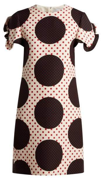 Valentino Polka-dot wool-silk crepe dress