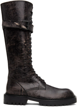 Ann Demeulemeester SSENSE Exclusive Black Distressed Buckle Riding Boots