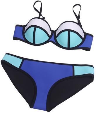 HONGYISWIN Women's Padded Bra Color Conjoin Two Pieces Neoprene Bikini Set Beach Bathing Swimsuit Dark Blue X-Small
