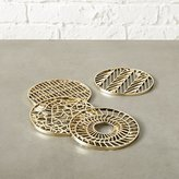 CB2 Set Of 4 Etch Gold Coasters