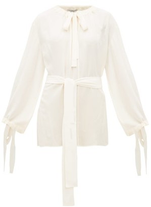 Stella McCartney Tie-neck Silk-crepe Blouse - Ivory