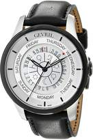Gevril Men's 2002 Automatic Stainless Steel Black Hand Made Leather Day Date Watch