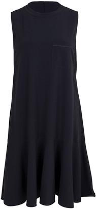 Brunello Cucinelli Navy Cotton Stretch Ruffle Hem Dress