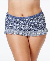 Jessica Simpson Plus Size Printed Ruffled Skirted Bikini Bottoms