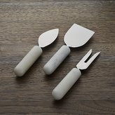 Crate & Barrel Set of 3 Marble Handle Cheese Knives