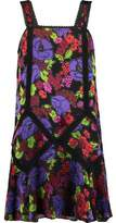 Anna Sui Gardenia Macramé Lace-Trimmed Burnout Chiffon Mini Dress