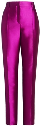 Alberta Ferretti Mikado Silk-Blend Straight-Leg Trousers
