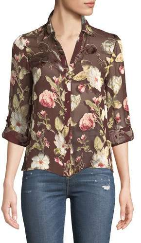 Alice + Olivia Eloise Roll-Cuff Floral-Print Sheer Blouse