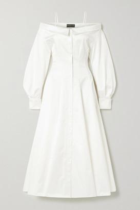 Brandon Maxwell Cold-shoulder Cotton Midi Shirt Dress - Off-white