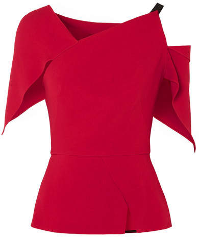 Roland Mouret Draped Cutout Crepe Top - Red