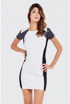 Select Fashion Fashion Pu Panel Jacquard Bodycon Dress Dresses - size 6