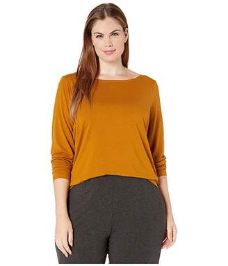 Eileen Fisher Plus Size Fine Tencel Jersey Bateau Neck Slim Top