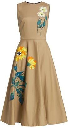Oscar de la Renta Sleeveless Hand Painted Floral A-Line Midi Dress