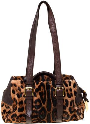 Dolce & Gabbana Leopard Print Calf Hair and Leather Satchel